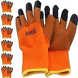 Thimmamma Guantes de trabajo de invierno, 6 pares de guantes de nailon calientes, con revestimiento de látex, impermeables, protección de seguridad, guantes de montaje, para hombre y mujer
