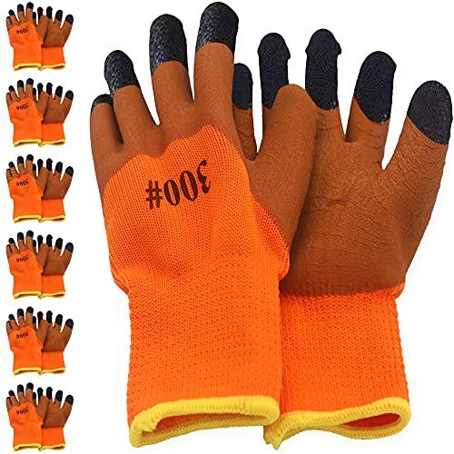 Thimmamma Arbeitshandschuhe Winter, 6 Paar Warme Nylon Arbeits Schutzhandschuh mit Latex Beschichtung, Wasserdicht Safety Schutz Montagehandschuhe für Herren und Damen