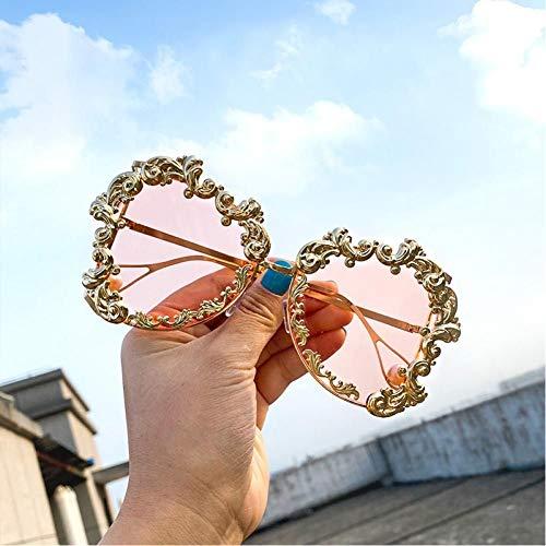 SHENY Occhiali da Sole Oversize da Donna Occhiali da Sole Punk Vintage da Donna Occhiali da Sole Barocchi con Perle Uv400 Rosa