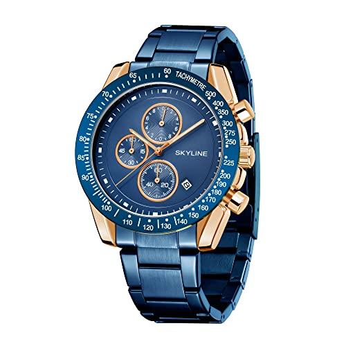SKYLINE Reloj Hombre Cronografo, Reloj Pulsera de Acero Inoxidable, 3 ATM, Movimiento...
