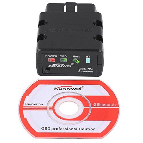 Scanner per auto, KW902 OBDII Car Scanner strumento di rilevamento dei guasti Bluetooth 3.0 per Android(Nero)