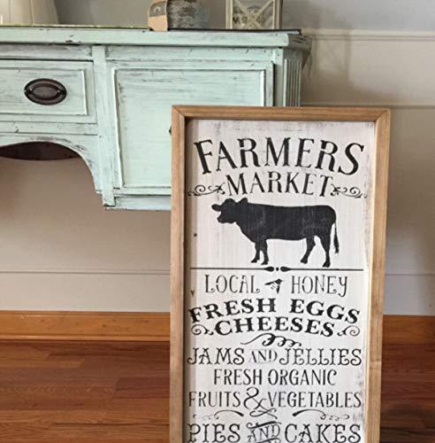 43LenaJon lokale voedselmarkt, boeren marktteken, Outdoor Market Decor, Lokale Honing teken, Lokale markt Art, Koe Silhouette Art, Boerderij naar Tafelbord
