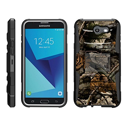 TurtleArmor   Compatible with Samsung Galaxy J7 2017 Case   J7 Prime   J7 Sky Pro [Hyper Shock] Hybrid Dual Layer Armor Holster Belt Clip Case Kickstand - Tree Leaves Camouflage