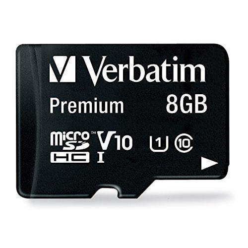 Verbatim Premium microSDHC Speicherkarte - 8 GB - inkl. Adapter, Class 10, bis zu 80 MB/s Lesegeschwindigkeit, wasserfest und schockresistent, 44081