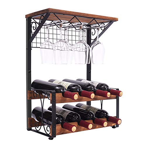 X-cosrack 2 Tier Solid Wood Wine Rack, Hold 8 Wine Bottles and 6 Glasses Countertop Wine Storage Stand, Freestanding Wine Holder Display Shelves for Kitchen, Pantry, Cellar, Bar