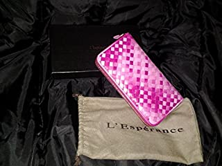 L'Esperance レスペランス【羊革仕様】編み込みラウンドファスナー長財布 vivid FantasyPink ファンタジー ピンク