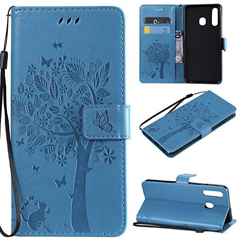 nancencen Hülle Kompatibel mit Samsung Galaxy A8S, Flip-Hülle Handytasche - Standfunktion Brieftasche & Kartenfächern - Baum & Katze - Blue