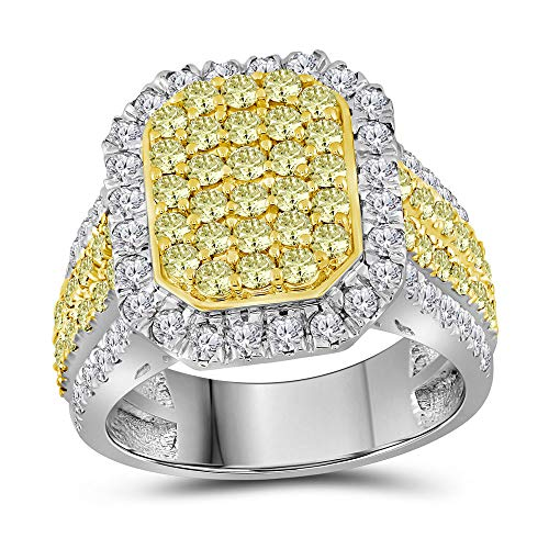 Solid 14k White Gold Round Canary Yellow Diamond Rectangle Cluster Engagement Wedding Anniversary Ring Band 2.33 Ct. - Size 7