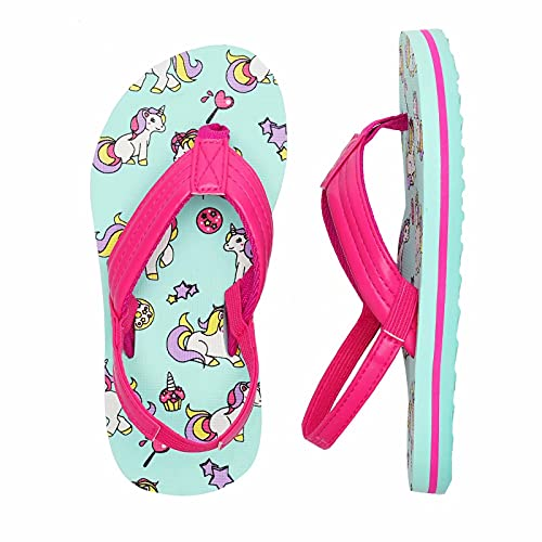 Kinder Badelatschen Flip Flops Jungen Mädchen Badeschuh Zehentrenner Sandalen Kleinkind Hausschuhe mit Rückenband für Sommer und Strand(Einhorn Pink,30/31 EU)