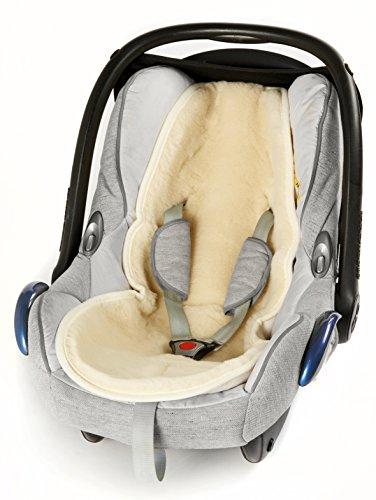 Baby Merino Universaleinlage, Einlage für Kindersitz, Babyschale, Babytrage, Kinderwagen, Buggy, Flor aus 100% Schurwolle - Alternative zu Lammfell, Natur