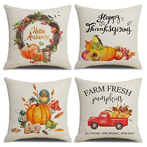 KACOPOL Fall Decorative Pillow Covers Farm Fresh Pumpkin Truck Hello Autumn Watercolor Pumpkin Happy Thanksgiving Gift Cotton Linen Throw Pillow Case Cushion Cover 18' x 18' Set of 4 (Fall Farm Pumpk)
