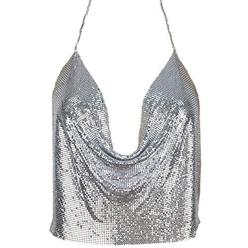 Aelidiya Women's Sexy Shiny Rhinestones Chain Halter Plunge Sleeveless Metal Sequin Crop Top Backless Silver