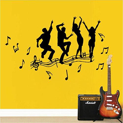 Música Y Danza Diy Vinilo Adhesivos De Pared Sala De Estar Dormitorio Habitación Infantil Hogar Mural Decorativo Papel Pintado De Arte 70X42Cm