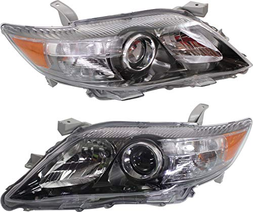 Evan-Fischer Headlight Set Compatible with 2010-2011 Toyota Camry Left Driver and Right Passenger Side Halogen With bulb(s)