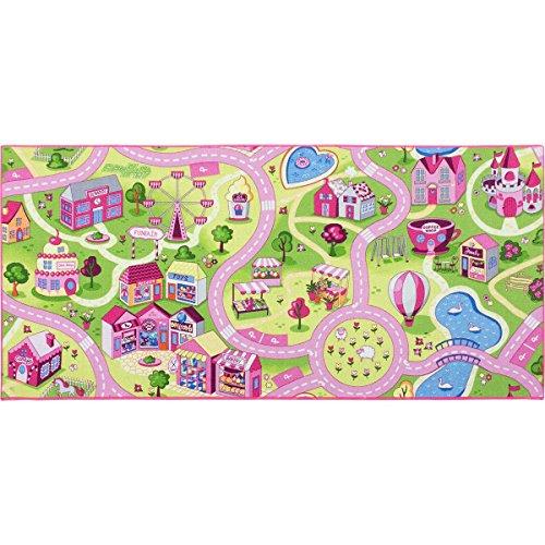 BilligerLuxus Kinderteppich Mädchen Straßenteppich Spielteppich Sweet Town in vers. Größen, Größe:80x150 cm