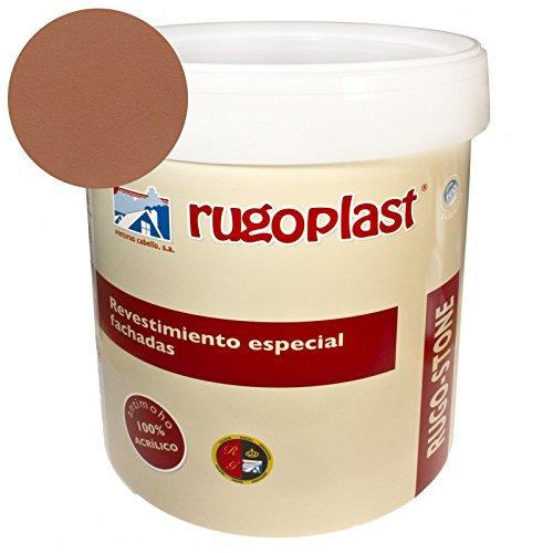 Pintura revestimiento especial fachadas Rugo Stone Colores ideal para dar un toque de color a las paredes exteriores de tu casa (4L, Siena) Envío GRATIS 24 h.