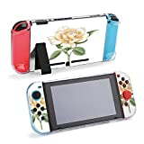 SUPNON Carry Case Compatible with Nintendo Switch, Ultra Slim Hard Shell, Protective Carrying Case for Travel - Botanical Illustration of Rose Design14990
