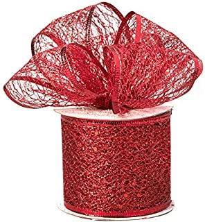 Decorative Tulle Glitter Mesh Wrap Wired Ribbon Roll 2.5 inch x 10 Yard, Red