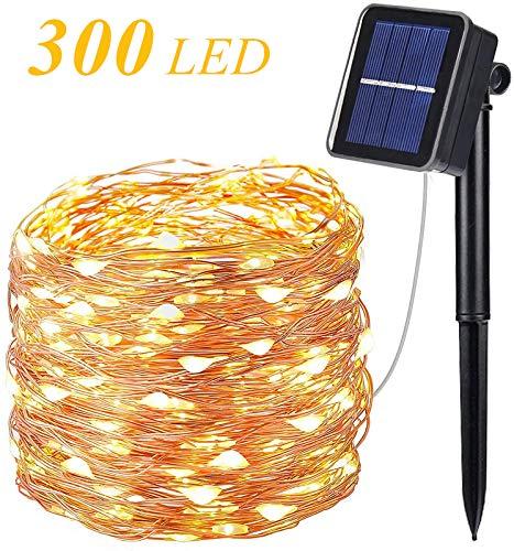 Solar Lichterkette Außen,OxyLED 300 LED Lichterkette 8 Modi 98ft Außenbeleuchtung Kupferdraht Wasserdicht IP65 ung und Timer für draussen,Innenbeleuchtung,Garten, Hochzeit,Party,Warmweiß