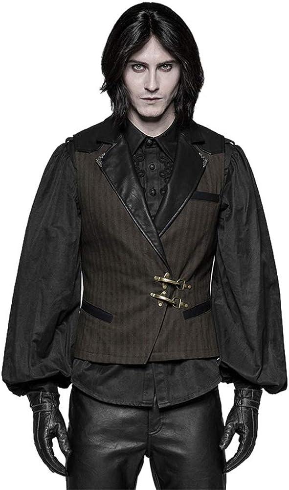 Punk Rave Men's Vest Fashion Gothic Leather Black Retro Palace Men's Vest Jacket Emo Visual Kei Stage Performance Men