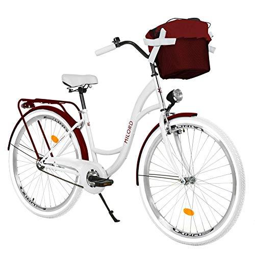 Milord. 28 Zoll 3-Gang Weiß-Rotwein Komfort Fahrrad mit Korb Hollandrad Damenfahrrad Citybike Cityrad Retro Vintage