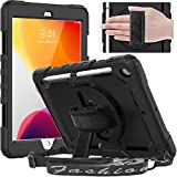 Timecity iPad 10.2 Case 2020/2019 (iPad 8th/ 7th Generation Case) with Screen Protector Pencil Holder Rotating Kickstand Hand/Shoulder Strap.Rugged Protective Tablet Cover for iPad 10.2 inch-Black