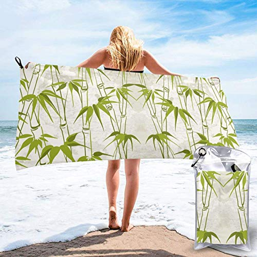 FLDONG Toalla de secado rápido de bambú verde con impresión de plantas de microfibra, ultra suave y compacta, adecuada para camping, gimnasio, playa, hogar, 81.5 x 163 cm