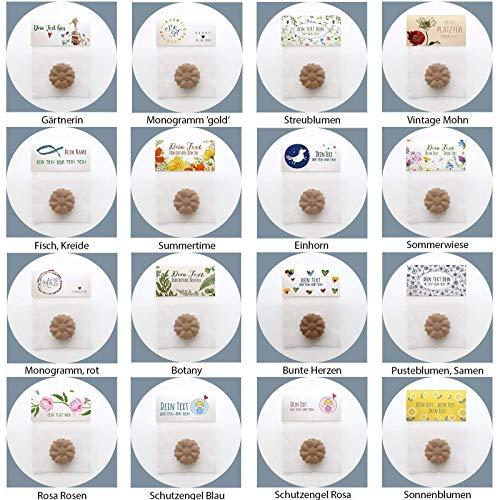 20x Personalisierte Gastgeschenke Hochzeit Flowerpower Samenbomben BIO Give aways Seedbombs Seedballs