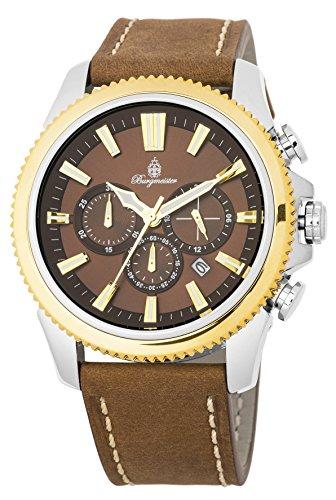 Burgmeister Herren Chronograph Quarz Uhr mit Leder Armband BMT03-905