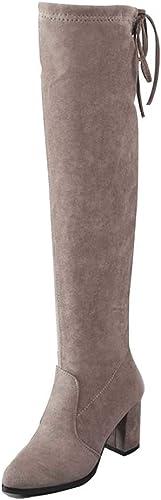 YALANDA Bottes Bottes Au-Dessus des Bottes pour Femmes avec Bottes à Talon Plat Et Chaussures à Lacets Arrondis pour l'hiver  articles de nouveauté