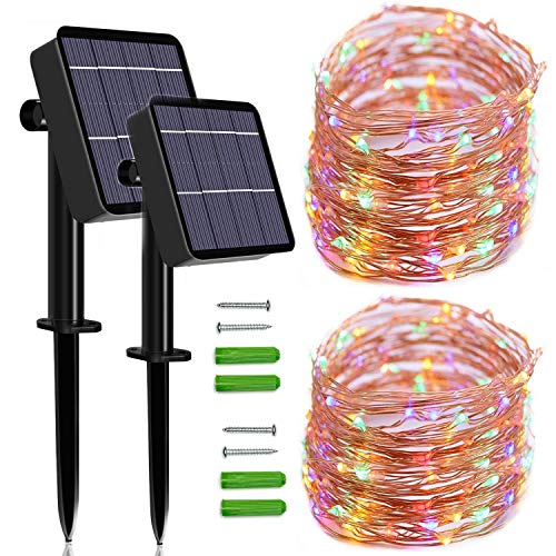 Solar String Lights Outdoor, 2 Pack 120 LED Solar Fairy Lights 46Ft Solar Garden Lights Waterproof 8 Modes Indoor/Outdoor Copper Wire Decorative Lighting for Home Patio Yard Party Wedding(Multicolour)