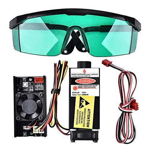 S SMAUTOP 10000mW 450nm TTL PWM Módulo de control láser azul, DC 12V Focal Cabezal láser ajustable, Módulo de grabado de cabeza láser 100-240V + Gafas, Para la máquina de grabado láser DIY (10W+Gafas)