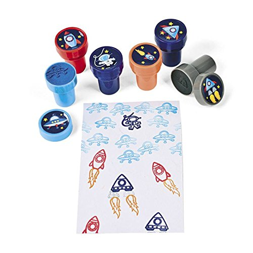 Kinderstempel Stempel Astronaut UFO Raumschiff Mitgebsel 6 Stück mit Palndi® Sticker