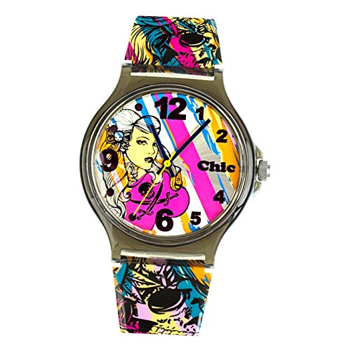Chic-Watches Damenuhr Rockabilly Punk Armbanduhr Chic Lady-Uhren D3UC009 Armbanduhr für Jugendliche
