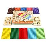 TOYMYTOY - Juguete de calcul contador de madera, tarjetas digitales y palos de madera con caja