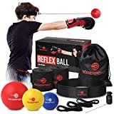 BOXERPOINT Boxing Reflex Ball Set for Kids - 3 Difficulty Level Soft Punching Balls - Boxing Training Equipment with Adjustable Headband Boxing Trainer and Hand Wraps, Great for Hand Eye Coordination
