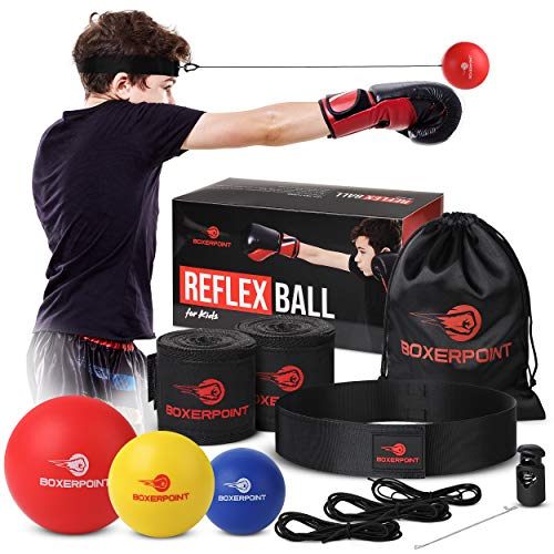 BOXERPOINT Box-Reflexball-Set für Kinder – 3 Schwierigkeitsstufen, weiche Boxbälle – Box-Trainingsausrüstung mit verstellbarem Kopfband, Boxtrainer und Handbandagen, ideal für Hand-Augen-Koordination