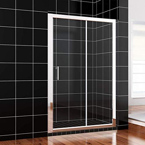 SONNI Schiebetür Dusche 120x185cm Klarglas Duschwand Duschtüren Glasschiebetür