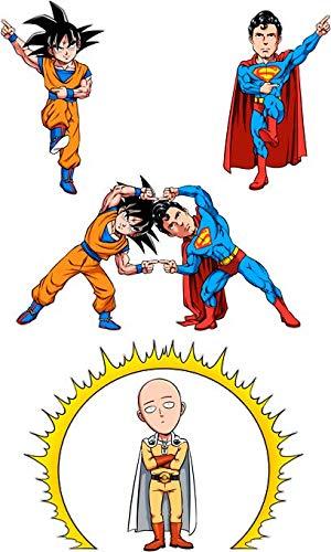 T-Shirt Noir One Punch Man DB Sup Superman parodique Saitama de One-Punch Man, Sangoku de DBZ et Superman : La Fusion la Plus puissante de l'univers (Manga Style) (Parodie One Punch Man DB Sup Superm