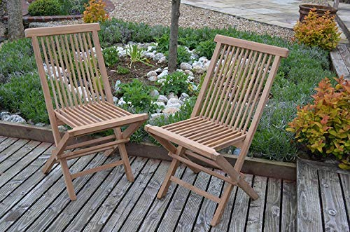 Field & Hawken - Oxford Dining Chair - Teak Folding Garden Chair - Teak Garden Chair - Pack of 2