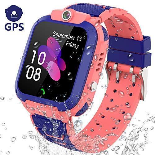 PTHTECHUS GPS Reloj Inteligente Niña - Smartwatch Niños Localizador GPS Ninos, Pulsera Inteligente Reloj Inteligente Niña Regalo (GPS G012 - Rosa)