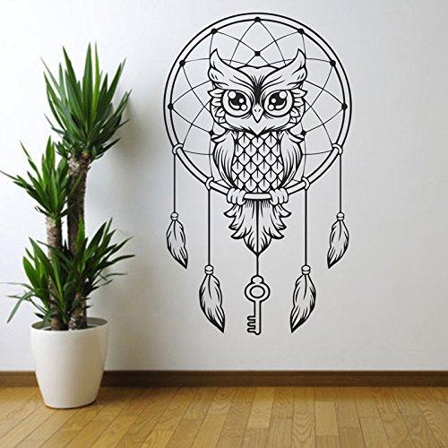 Atrapasueños búho pegatina de pared detallada decoración del hogar dormitorio murales extraíbles clave pluma decoración papel tapiz A3 42x47cm