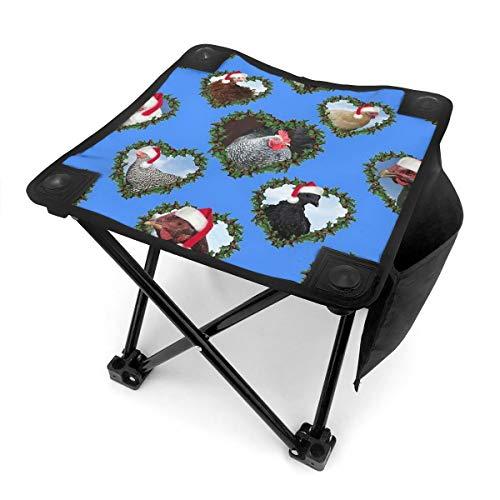 HOTLIFE-234 Weihnachts-Hühner in Herz-Kränzen Kleiner Klapphocker Tragbarer Mini Tritthocker Outdoor Klappstuhl Klappstuhl Camping Hocker für Angeln Camping Ausflug