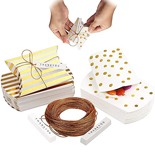 40 Piezas Caja de Favor de Boda, Caja de Regalo para La Fiesta, Cajas para Regalo Vintage Papel, Forma de Almohada Cajas de Dulces para Regalos de Boda con Cuerda para Boda, Fiesta, Navidad (Oro)