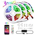LED Lights for Bedroom 50ft,LED Light Strip Music Sync Color Changing 5050 RGB Light Strips for Room with Bluetooth Remote Controlled LED Lights for Bedroom TV, Party, Home