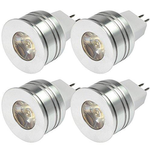 MENGS® 4 Stück MR11 AC/DC 12V LED Spotlight 1W Warmweiß 3000K Mit Aluminium Körper