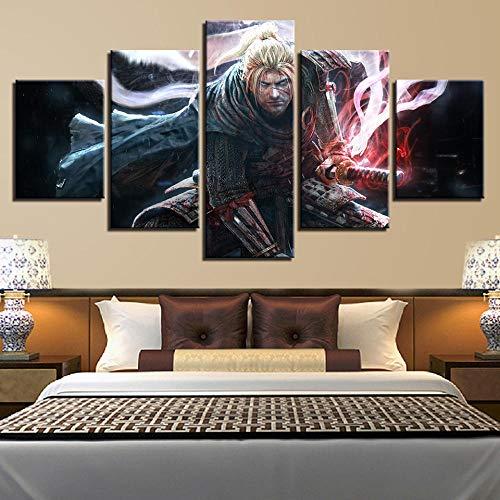 TACBZ 5 Gemälde auf Leinwand, Wandkunst, Drucke 5 Wildjagen Bilder Dekoration Familien Spiel Charakter Wohnzimmer Baustelle Büro Zuhause Schlafzimmer