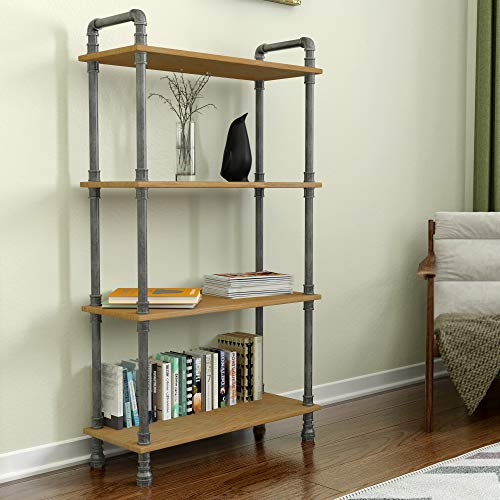 Tribesigns Solid Wood 5-Shelf Industrial Style Bookcase and Book Shelves, Metal and Wood Free Vintage Bookshelfs, Retro Brown (Double 5 Tier)