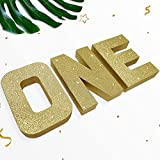 ONE Sign Gold Glitter Large First Birthday Sign Freestanding Cake Smash Photo Prop 1 Year Old Number Sign ONE Letters First Anniversary Celebration Party Decorative