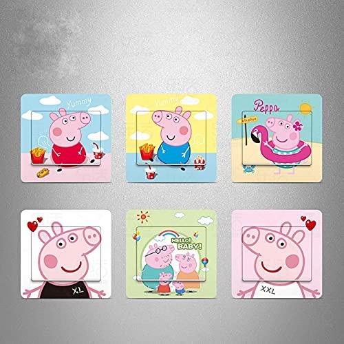 JZLMF Interruptor autoadhesivo de Peppa Pig para habitación infantil, diseño de dibujos animados de Peppa Pig.